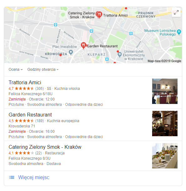 Google Maps restauracje
